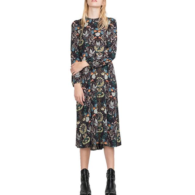 Женщины урожай цветочные макси длинное платье О-Образным Вырезом с длинным рукавом ...