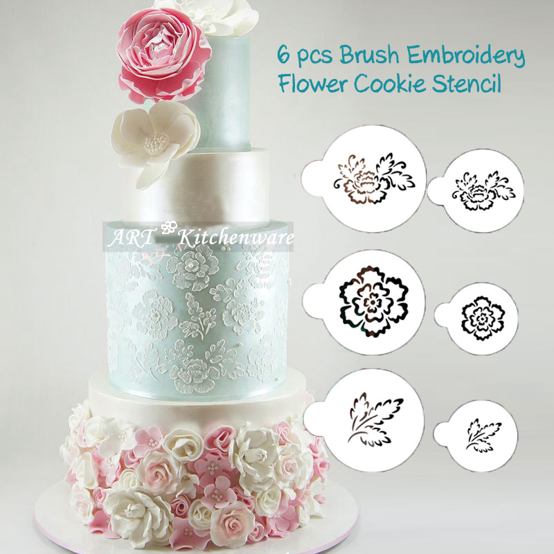 6 pcs Brush Embroidery Flower Cookie Stencil, Cake Side Stencil, Fondant Molds Mould Round Stencil for Decorating Cakes ST-330(China (Mainland))