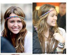 Women Plaited ethnic tribal Rainbow 80s Youth Hippy Stretch Woven headband twist Braid hairband hair accessories