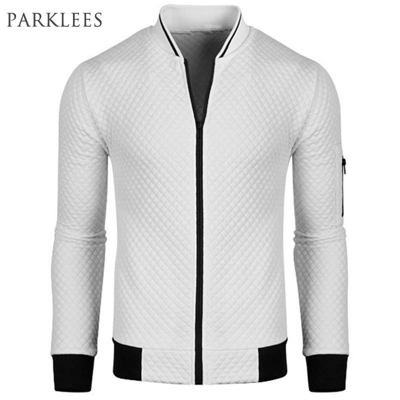 New White Bomber Jacket Men Blouson Homme 2016 Mens Fashion Pu Leather Sleeve Splice Argyle Zipper Baseball Varsity Jacket Xxl(China (Mainland))