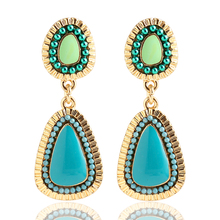 New Hot Vintage Royal Court Alloy Plated Water-drop Zircon Earrings White Geometric Acrylic Drop Earrings For Women Jewelry PD21(China (Mainland))