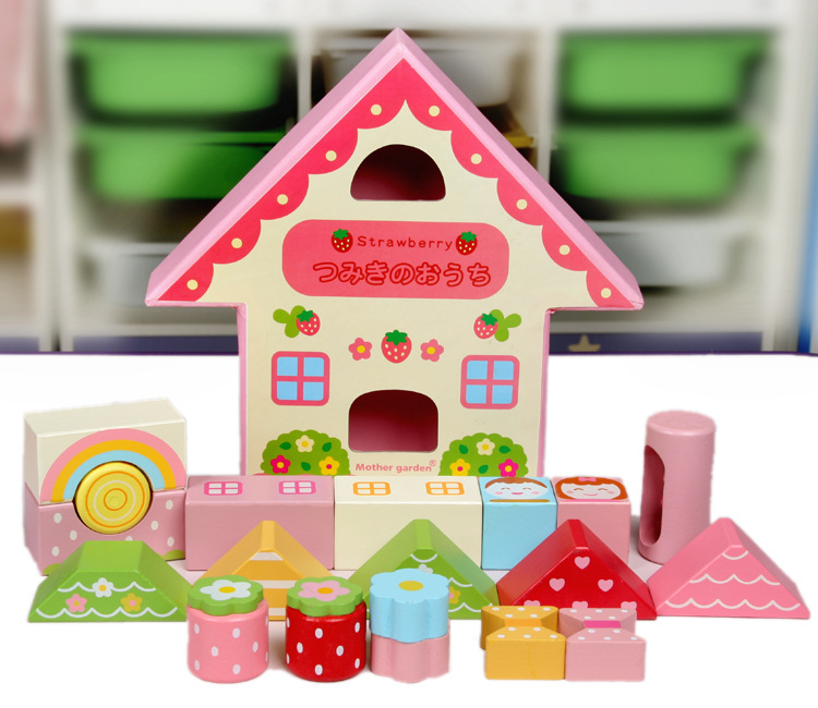 Free Shipping + Hot-selling Mother Garden 19 Pieces Wooden Toys Blocks Strawberry Pink House Building Blocks(China (Mainland))