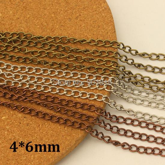 4 6mm 10meter lot wholesale bronze necklace chains bulk