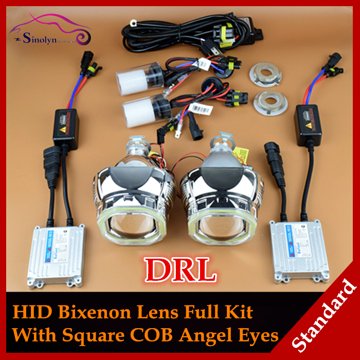 Car Styling Automobiles COB LED Angel Eyes Halo DRL Headlights HID Bi xenon Lens Projector Full Kit Headlamp Lenses