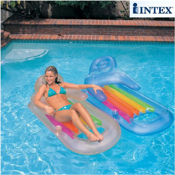 INTEX 160*85cm water  air mat mattress adult summer swimming pool toy, with cup holder, 2 color<br><br>Aliexpress