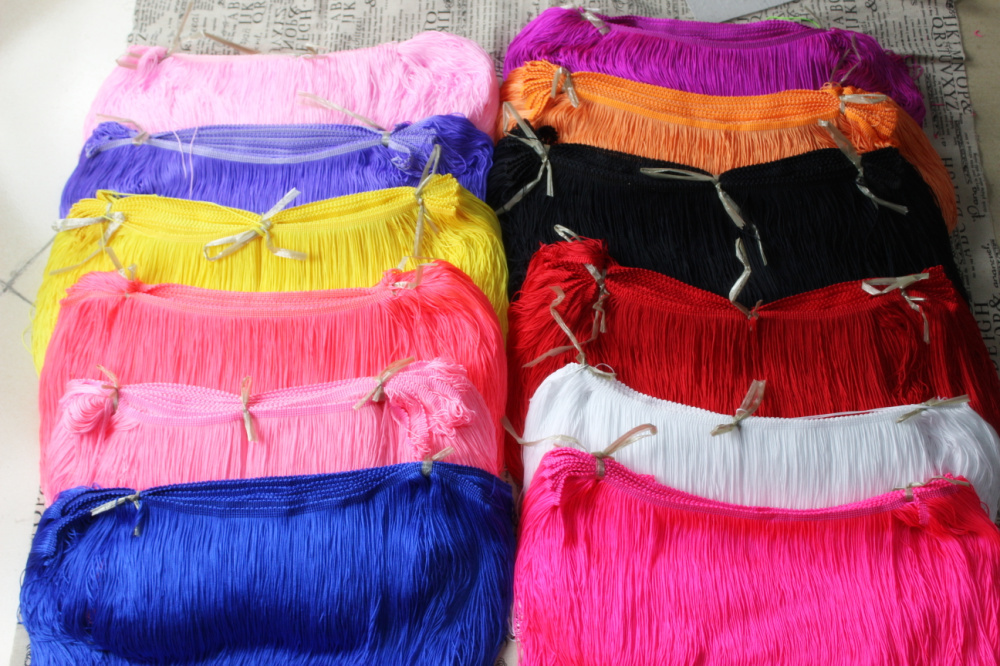 30cm nylon Fringe trimming tassel bright shiny neon colored thick heavy design loop buttom15 colors(China (Mainland))