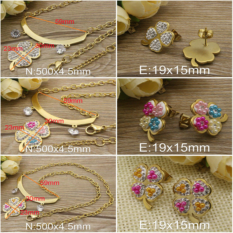HOT Gold-color Crystal New Fashion Stainless Steel Jewelry Flower Pendants+ Earring sets For Women And Girls(China (Mainland))