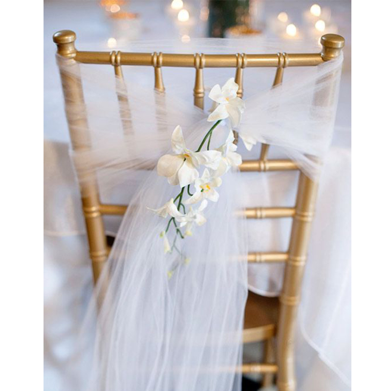 White Roll Soft Sheer Wedding Chair Sash Bows Swag Party Tutu Organza Fabric For DIY Wedding