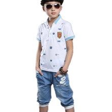 Set for Boys summer sets baby boy set 3 colors polo clothes kids tracksuit short sleeve t-shirt denim pant boy clothing 3-14T(China (Mainland))