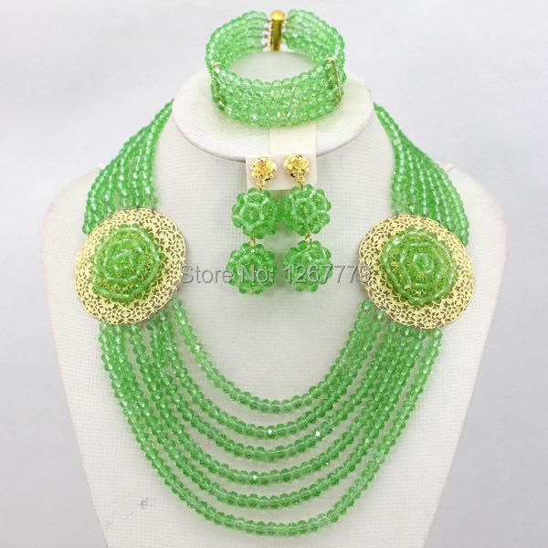Fashion Nigerian Wedding African Jewelry Set Crystal Beads Necklace Set Women Costume Jewelry 18K Gold 2015 Free Shipping ABJ002(China (Mainland))