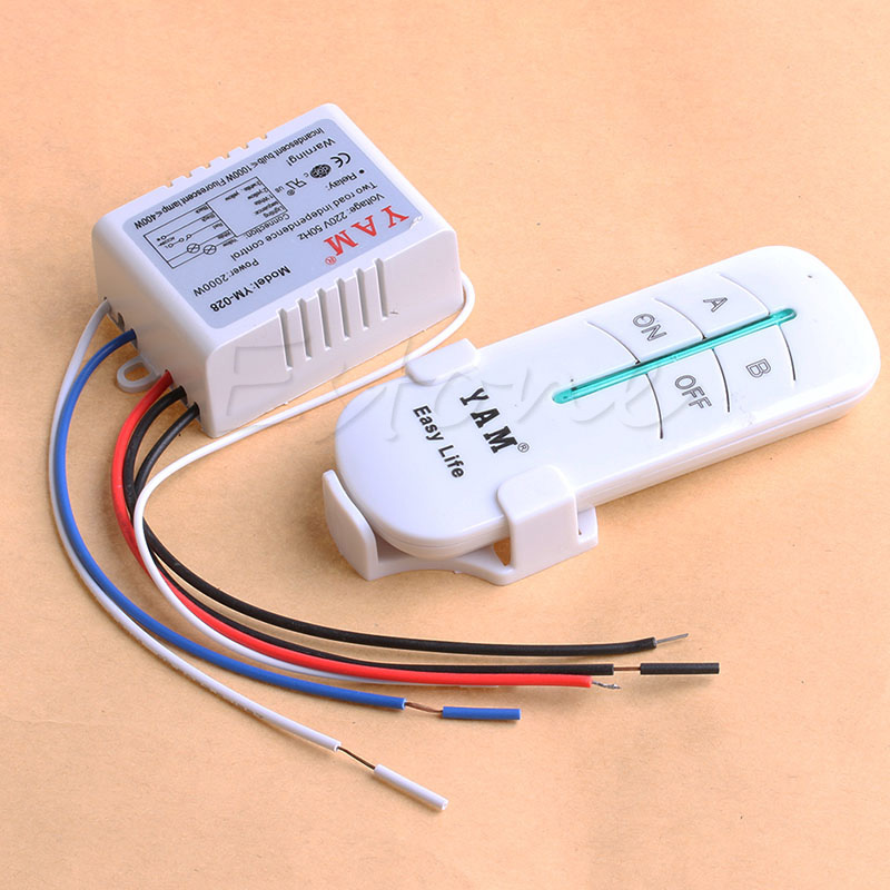 Free Shipping Wireless 2 Ways ON/OFF 220V Lamp Remote Control Switch Receiver Transmitter(China (Mainland))