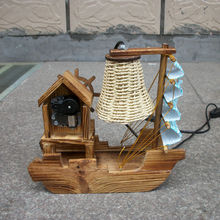 Guaranteed 100% wooden table lamps for bedroom  boat lamp vintage ship lamp shade with music box light for home decoration (China (Mainland))
