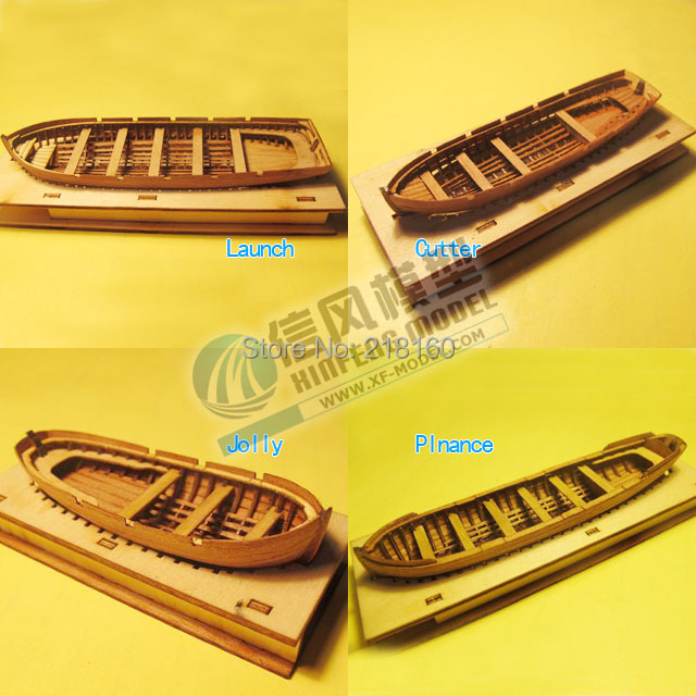 Classic wooden sailing boat assembled set of material the Cutter/Jolly/Launch/Pinance Life-boat Model 4 styles can choose(China (Mainland))