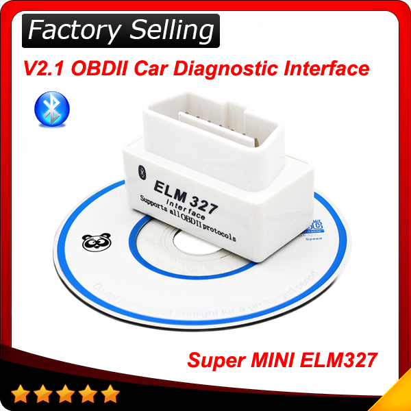 2015 Top selling SUPER MINI ELM327 Bluetooth OBD2 V2.1 White Smart Car Diagnostic Interface ELM 327 Wireless Scan Tool(China (Mainland))