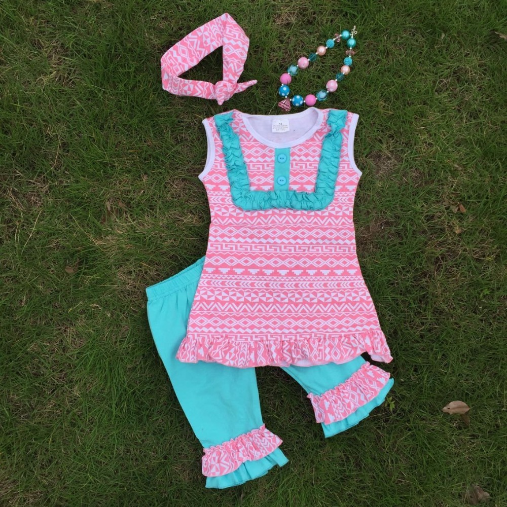 bulk sell Baby girls pink Aztec tribal clothing set girls