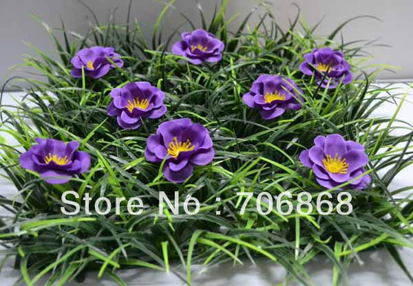 10''*10'' Artificial plastic grass mat boxwood mat with little purple flower wedding garden home party decoration table runner(China (Mainland))