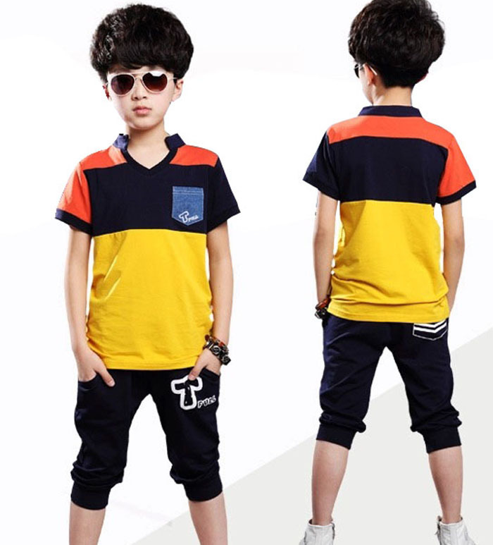2015 New Summer Boys Casual Suits Sports V-neck Shirt for Kids Casual Active Clothing Sets Shirt + Shorts for Children(China (Mainland))