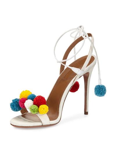2016 designer girls white Pom Pom Sandal high heel slingbacks genuine leather women pumps summer shoes pineapple<br><br>Aliexpress