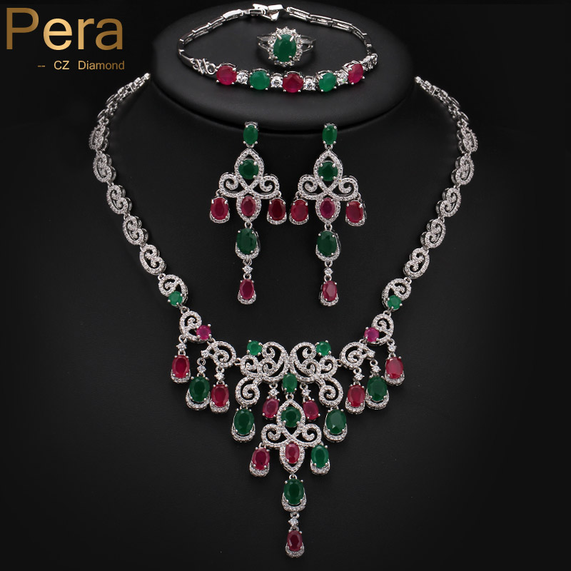 Noble Design Big Flower Drop 4 Piece Nigerian Women Party Accessories Jewelry Set With Natural Green And Red Cubic Zirconia J151(China (Mainland))