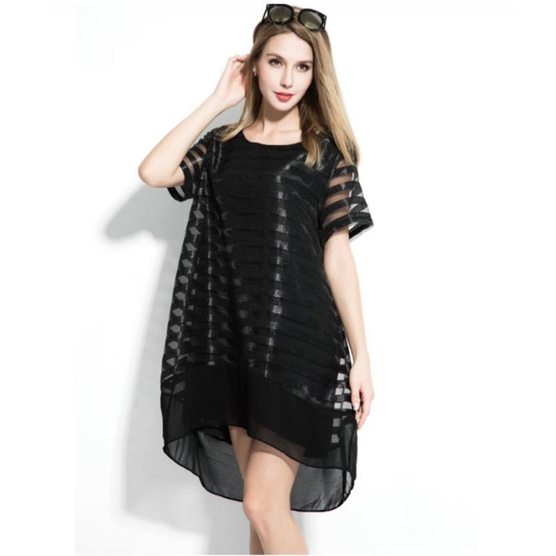 Organza Black Dress Plus Size 2016 Vestidos Mesh Striped Sexy Summer Dresses Women Short Sleeve Loose O Neck Mini Dress L-2XL(China (Mainland))