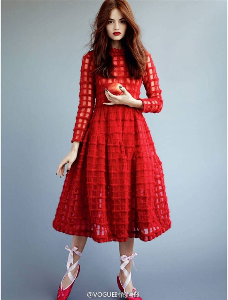 Women Clothing 2015 Europe New Red Stunning Long Sleeve Exquisite Grid Stitching Gauze Big Swing Slim Summer Dresses