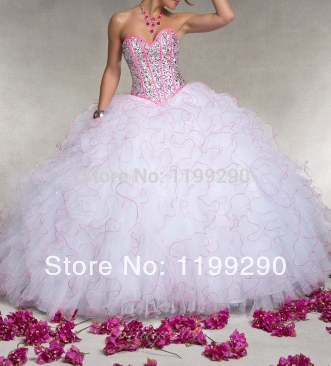 2015 New White+Pink Sweetheart Ruched Organza Beaded girl Quinceanera Dresses Ball Gown Prom Pageant Party - beyond store