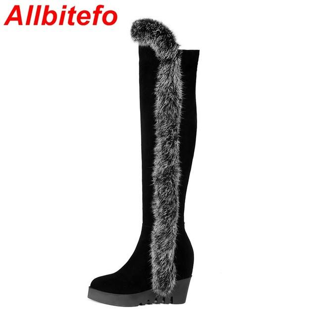Клинья реальный полный Кролик украсить высокий каблук ботинки женщин старше колено ...