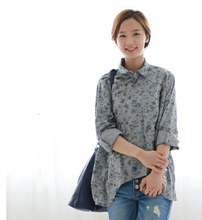 Free Shipping 2015 New Spring Women's Top Vintage Sweet Long-sleeve Shirt Girl Blouses Floral Printed Cotton Linen Loose blouse(China (Mainland))