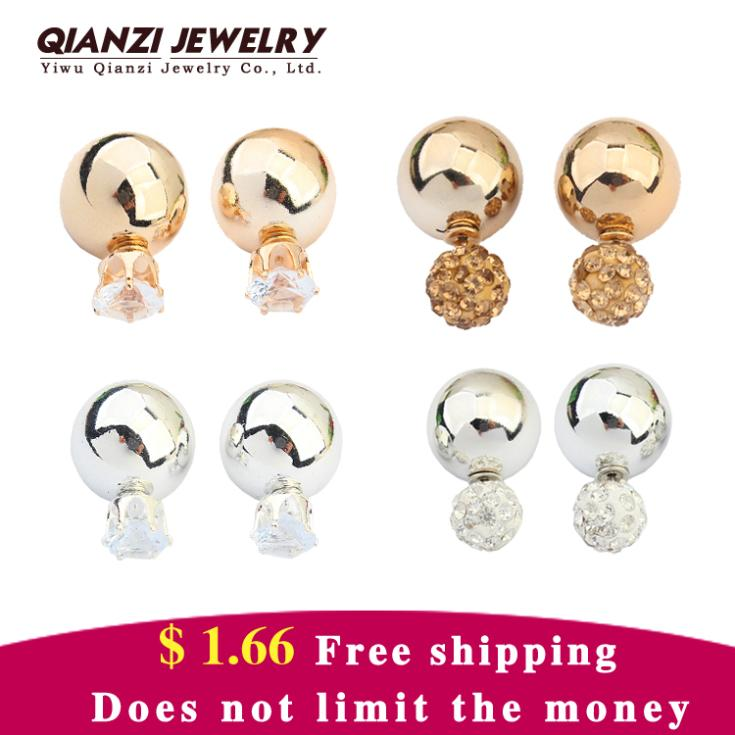 2015 Hot Crystal Stud Earrings Jewelry 925 Silver Lovely Women Gold Ball Fashion Shinning Double Side Color Shining Big Pearl(China (Mainland))