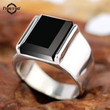 Fashion rings Punk Vintage Rectangular  Rings For Men With Black Onyx for party Stainless Steel Ring(China (Mainland))