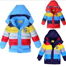 Trasporto libero di vendita al dettaglio 2015 nuovo inverno cappotto del ragazzo a strisce di colore ragazzi cotone imbottito giacca, bambini di inverno anatra giù cappotto del cotone(China (Mainland))