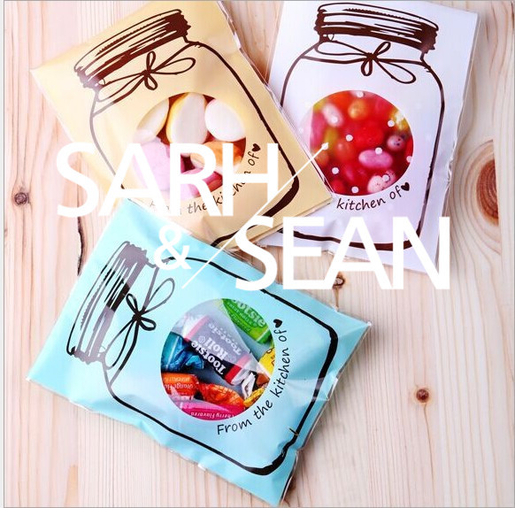 ZFD126 Cookie packaging Colorful bottles self-adhesive plastic bags for biscuits snack baking package 90pcs/lot 7X10cm(China (Mainland))