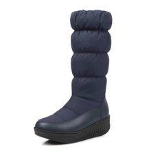 MORAZORA Plus Size 35-44 Mới Thời Trang Mùa Đông Ủng Giày Đế Giày Giữa Bắp Chân Giày Bốt Nữ Màu Trơn dây Kéo Trắng(China)