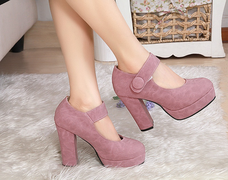 Free shipping news high heel shoes thick heels women dress footwear fashion buckle sexy pumps ladies spring shoes size 34-39<br><br>Aliexpress