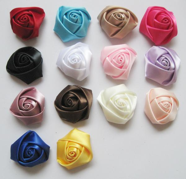 200pcs 14 colors can be choosen 4cm ribbon rose flower  rosettes lowest price
