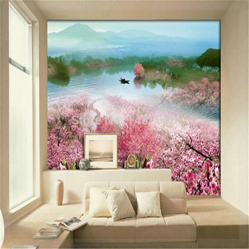 Peach Blossom Custom Photo Wallpaper Large 3D Wallpaper