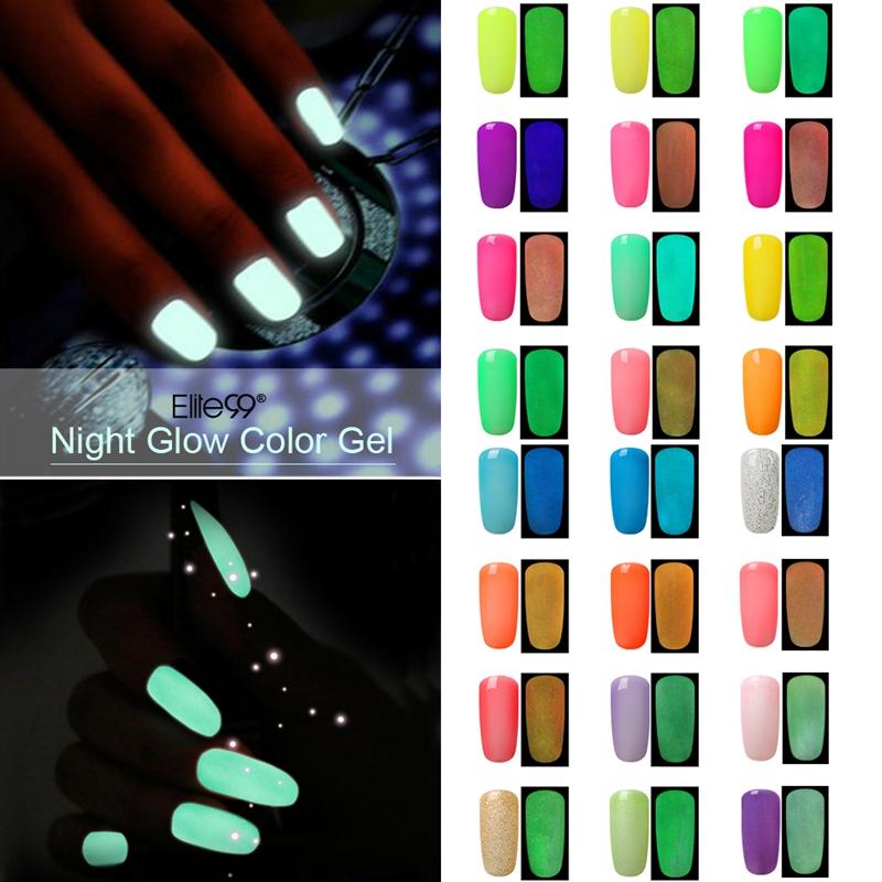Elite99 10ml Candy Colors Fluorescent Neon Luminous Nail Art Polish Glow In Dark Varnish Nail Gel Liquid Palisade Nail Polish(China (Mainland))
