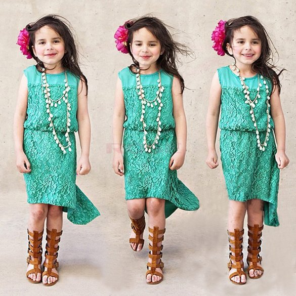 Brand New Summer Girl Dresses Casual Girls Lace Dress 2015 Fashion Kids Clothes Stylish Sleeveless Princess Dress Girl Sundress(China (Mainland))