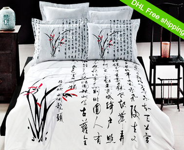 100%cotton 4pcs queen size 3d Orchid bedding sets china calligraphy white black duvet cover flat sheet bedspread DHLfreeshipping(China (Mainland))