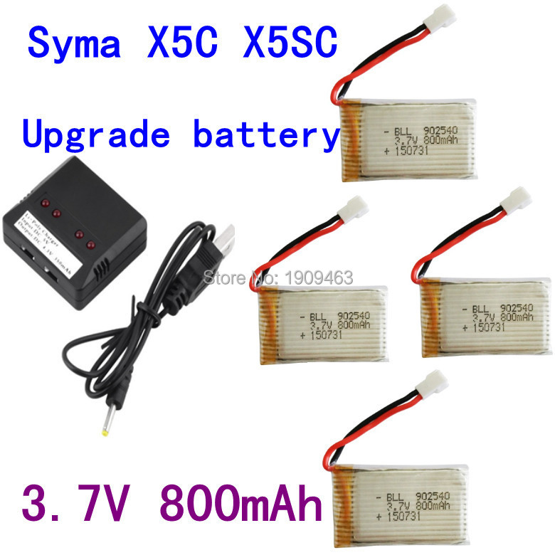 Syma X5C X5SC X5SW X5C-1 V931 H5C CX-30 CX-30W 4PCS 800mAh battery and charger Quadcopter Spare Parts With 3.7V X5C Battery(China (Mainland))