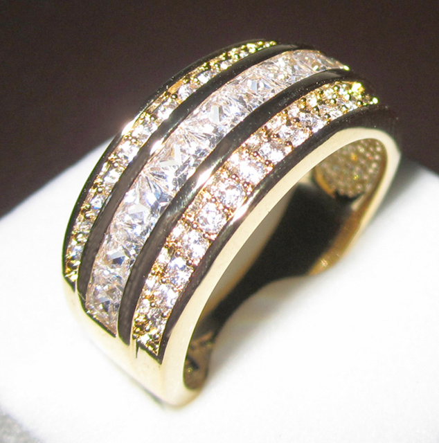 Men's White Sapphire CZ Stone 10KT Yellow Gold Filled Band Ring Size 8-13