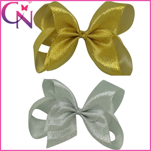 2 Colors Gold&Silver Fashion Baby Hair Bow Boutique Organza Hairbow With Clip Childrens Hair Accessories CNHBW-1504137(China (Mainland))