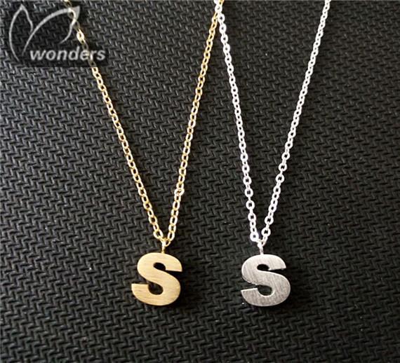 18k Gold / Silver Plated Letter S  Pendant  Necklace 2015 Fine Charm Pendant Necklace 30PCS/LOT<br><br>Aliexpress
