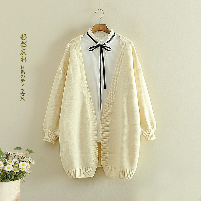 2016 new mori girl Brief women's loose puff sleeve cardigan solid color long-sleeve sweater outerwear(China (Mainland))