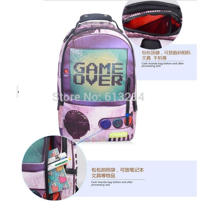 Free Shipping 1Piece Creative Multi-colored Game Over Backpack Game Boy Backpack Great Gift for Game Lovers(China (Mainland))