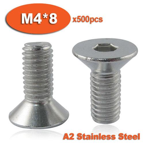 500pcs DIN7991 M4 x 8 A2 Stainless Steel Screw Hexagon Hex Socket Countersunk Head Cap Screws<br><br>Aliexpress