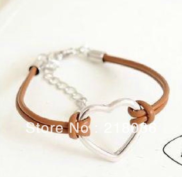 Vintage Silver Heart-shaped Leather Good Luck Bracelet &Bangle Jewelry For Women Dress Brand DIY Making Findings 10PCS N502(China (Mainland))