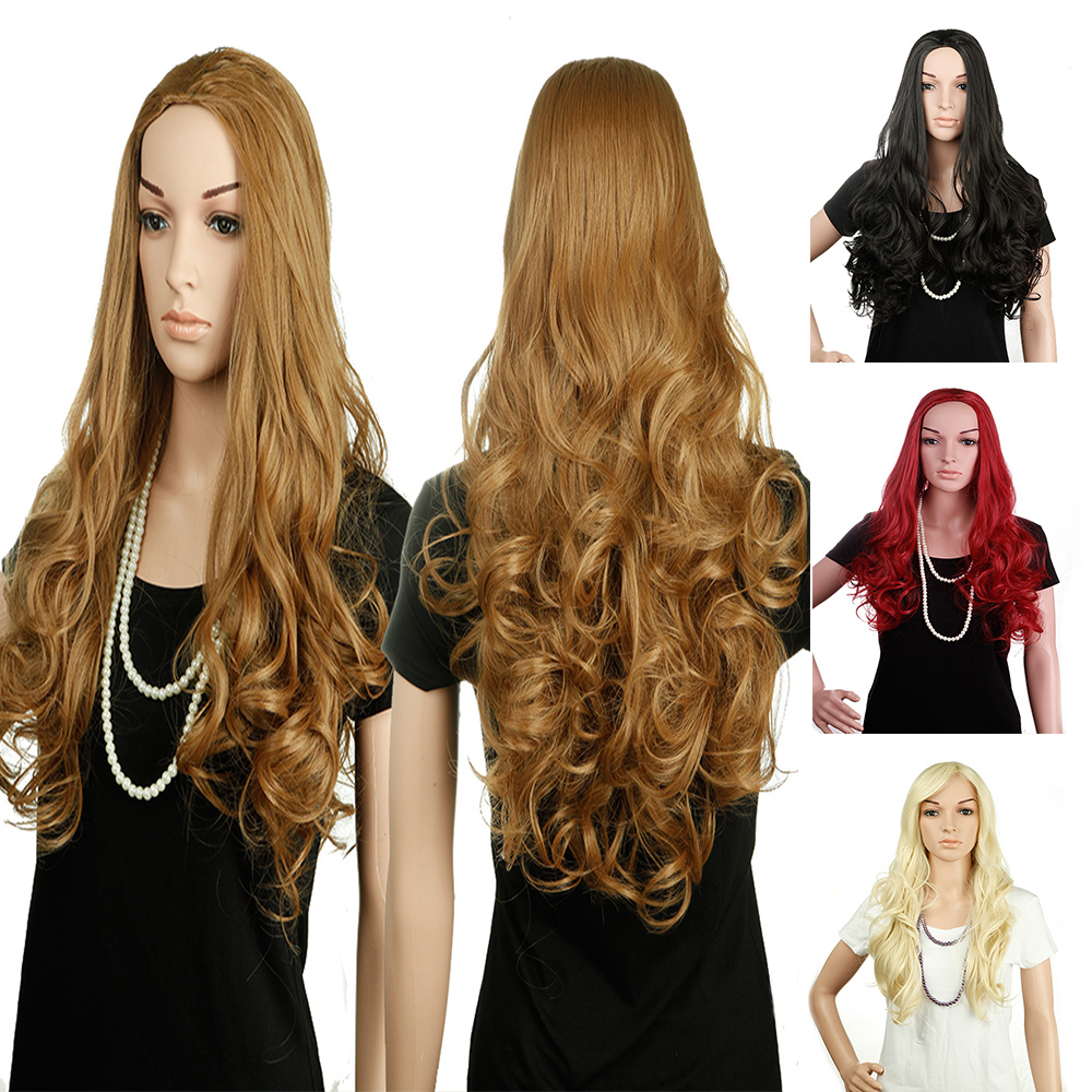 "25"" Long Curly 3/4 Half Wig Synthetic Kanekalon for Women Daily Party Hair Wigs 16 Colors Available(China (Mainland))"