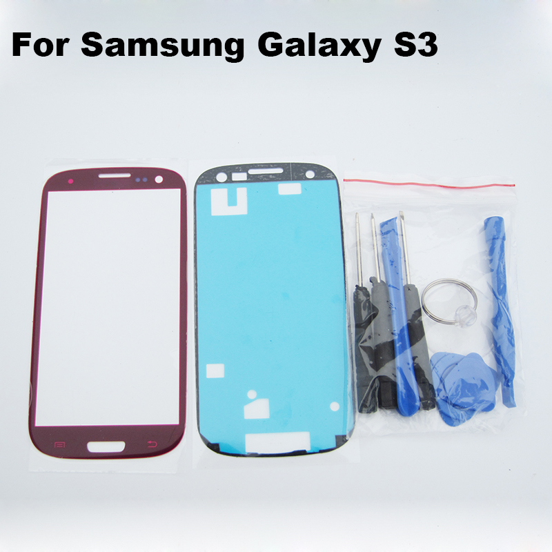 Red galaxy s3 outer glass for samsung galaxy i9300 LCD Touch Screen Digitizer Front Glass Lens free repair tools and adhesive