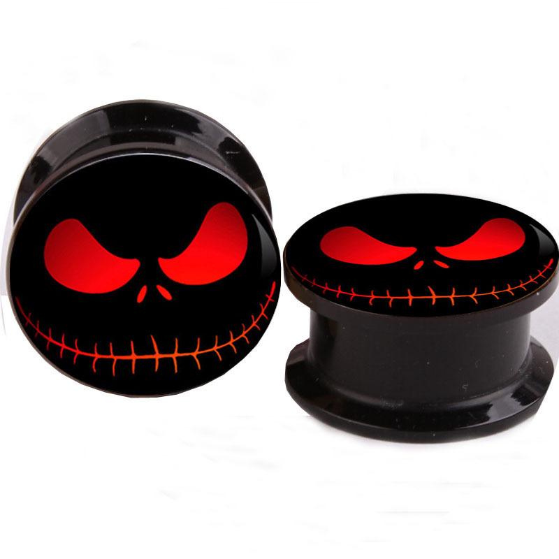 Plug Tunnel Nightmare Logo Screw Fit Black Acrylic Ear Gauges Flesh Ear Tunnels Plugs Ear Stretcher Expander Piercing Body(China (Mainland))